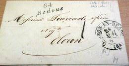 LAC - 64 BEDOUS (Basse Pyrénnées) Pour OLORON - Cursive + CAD OLERON En BEARN - 1837 (B42-L2) - Marcophilie (Lettres)