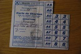 Rationnement - Carte De Charbon Seine - Documents Historiques