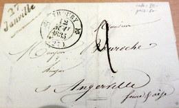 LAC - 27 JANVILLE (Eure Et Loir) Pour ANGERVILLE- Cursive + CAD THOURY (Loir Et Cher) - 1835 (B42-L2) - Marcophilie (Lettres)