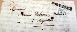 LAC - Bureau Des Postes Chambre Des Députés Des Depts Pour AIGUILLON- 60 PP Rouge + CAD Bleu + Port Payé - 1832 (B42-L2) - Marcophilie (Lettres)