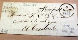 RARE LAC - 77 SOREZE / REVEL (Haute Garonne) - Pour TOULOUSE - 1828 (B42-L2) - Marcophilie (Lettres)