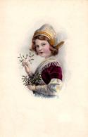 FILLETTE De BELLE ÉPOQUE Avec GUI / BELLE EPOQUE GIRL With MISTLETOE - MARY MILL ~ 1910 - '915 (ae348) - Scene & Paesaggi