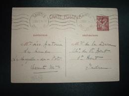 CP EP IRIS 80c OBL.MEC.22 VII 41 SAINTES CHARENTE INF (17) LEO ANTOINE à Mme DE LA DURE St AOUT INDRE (36) - Marcophilie (Lettres)