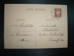 CP EP PETAIN 80c OBL. HEXAGONALE Tiretée 1-12 41 TREVOUX (AIN) CP N°5 - Marcophilie (Lettres)