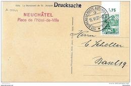 """121 - 33 - Carte Avec Oblit Spéciale """"Neuchatel Place De L'Hôtel De Ville 1937"""" - Marcophilie"""