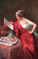 ÉROTISME / SEXY / JEUNE FEMME / YOUNG WOMAN : LECTURE Par ENJOLRAS ~ 1910 (ae352) - Tableaux
