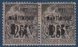 France Colonies Martinique N° 28b* En Paire Tenant à Normal Avec 5c Penché à 15c RR Signé Calves - Martinique (1886-1947)
