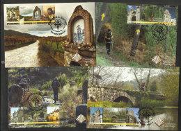 Portugal 2015 Pèlerinage De Saint Jacques Chemins Compostelle 4 Carte Maximum Santiago Compostela St James Way Maxicards - Christentum