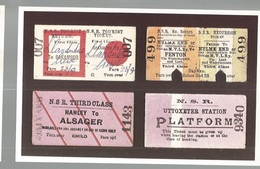 CPSM- Th. Transp. N°171, A Selection Of Tickets From The North Staffortshire Railway , Ed. Dalkeith - Chemins De Fer