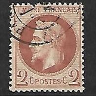 France  N° 26Ba   Oblitéré Cachet à Date      AB / 2 ème Choix             Soldé à Moins De  5 %  ! ! ! - 1863-1870 Napoleon III With Laurels