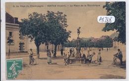 VERTUS- PLACE DE LA REPUBLIQUE- COLORISEE ET TOILEE - Vertus