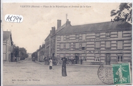 VERTUS- PLACE DE LA REPUBLIQUE ET AVENUE DE LA GARE- CAFE POUGEOISE-TRIQUENOT - Vertus
