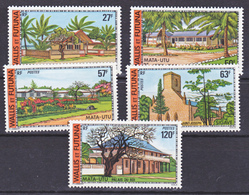 Wallis Et Futuna  203/207 Bâtiments Et Monuments Gomme Tropicale Neuf ** MNH Sin Charmela Cote 26.5 - Nuovi