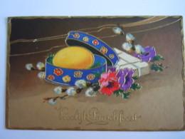 Pasen Pâques Ei Oeuf Boîte Doos Dorée Gouddruk Relief Gaufrée EAS M 1390 3559 Circulée Gelopen 1934 - Pasqua