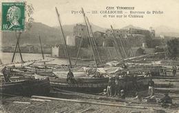 66)   COLLIOURE   - Barques De Pêche  Et Vue Sur Le Château  (  Halage  ) - Collioure