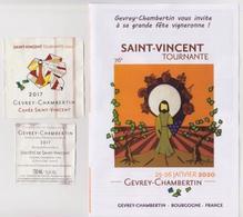 """Etiquette Et Contre étiquette 76° SAINT VINCENT TOURNANTE 2020 """" GEVREY-CHAMBERTIN 2017 """" Cuvée St Vincent _[ev616] - Bourgogne"""