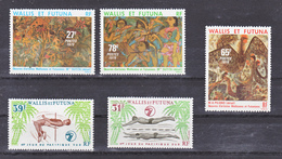 Wallis Et Futuna  243/244, 245/247 Jeux Du Pacifique Et Tableaux Gomme Tropicale Neuf ** MNH Sin Charmela Cote 13.6 - Neufs
