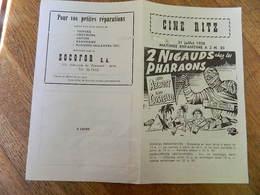 JETTE: CINEMA CINE RITZ 76 R. HENRI  WERRIESTRAAT -PUBLICITE DE FILM  2 NIGAUDS CHEZ LES PHARAONS 1958 - Publicité Cinématographique