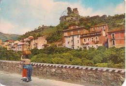 NICASTRO (ora LAMEZIA TERME) - RUDERI CASTELLO NORMANNO - DONNA IN COSTUME - ACQUERELLATA - VIAGGIATA 1990 - Lamezia Terme