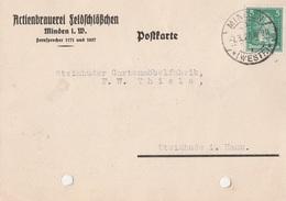 Deutsches Reich Firmenkarte Brauerei Bier Actienbrauerei Feldschlößchen Minden 1927 - Deutschland