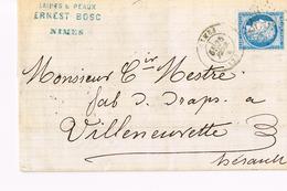 Lettre De Nimes Pour Villeneuvette  1874 - 1849-1876: Période Classique