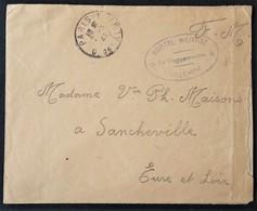 Enveloppe Franchise Militaire Cachet Ovale HÔPITAL MILITAIRE VILLEMIN Vers Sancheville Eure Et Loir Mars 1941 - Marcophilie (Lettres)