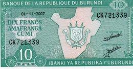 BURUNDI 10 FRANCS 2007 P-33e.2 UNC - Burundi