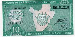 BURUNDI 10 FRANCS 2005 P-33e.1 UNC - Burundi