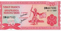 BURUNDI 20 FRANCS 2007 P-27d.5 UNC - Burundi