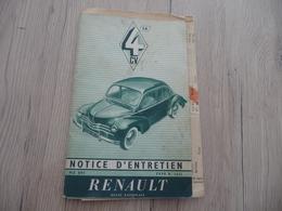 Notice D'Entretien Renault 4CV 56 Type R 1062 + Notice Descriptive - Voitures