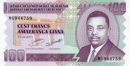 BURUNDI 100 FRANCS 2011 P-44b  UNC - Burundi
