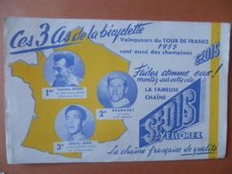 Buvard  Les Trois As De La Bicyclette Louison BOBET, BRANKART, CHARLY-GAUL - Buvards, Protège-cahiers Illustrés