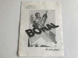 Pub Apéritif Des Montagnes De La Grande Chartreuse BONAL  - 1952 - Publicités