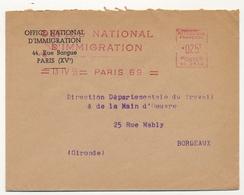 FRANCE - Env. En Tête Office National D'Immigration - EMA Idem - 13/4/1959 Paris 69 - EMA (Empreintes Machines à Affranchir)
