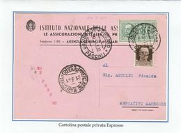 REGNO 380 - Cartolina Privata, Viagg. Per Espresso Nel 1941 Da Pesaro A Mercatino Marecchia - Storia Postale