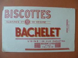 Buvard  Biscottes BACHELET   BOULOGNE-SUR-MER - Buvards, Protège-cahiers Illustrés