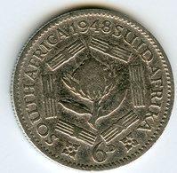 Afrique Du Sud South Africa 6 Pence 1948 Argent KM 36.1 - Afrique Du Sud