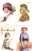 Lot De 9 Cpa D'illustrateurs Anglais, Lydon, Wimbush, Alys, Barber, Albert Beerts, Corey, Norfolk Church - Illustrateurs & Photographes