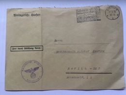 GERMANY 1936 Cover Giessen To Berlin Hans Kemritz - `The Kemritz Affair` - See Below - Alemania