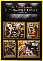 Bloc Feuillet Oblitéré De 4 Timbres-poste - Les Grands Peintres Michel-Ange Et Raphaël Au Vatican - Centrafrique 2013 - Centrafricaine (République)