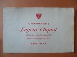 Buvard  Champagne EUGENE CLIQUOT A EPERNAY - Buvards, Protège-cahiers Illustrés