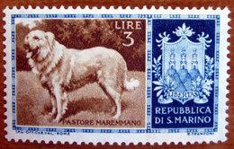 1956 SAN MARINO Stemmi Animali Cani Di Razza Dog Maremmano Maremma Shepdog (Canis Lupus Familiaris)  - Lire 3 Nuovo - Nuovi