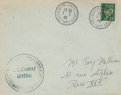 1942- Enveloppe Affr. 50 C Pétain Oblit. BOLCHEVISME CONTRE EUROPE / PARIS - Marcophilie (Lettres)