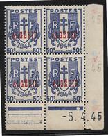 ALGERIE N°225** COIN DATE DU 5/4/1945 - Other