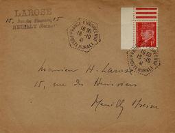 194- Enveloppe Affr. 1 F Pétain Oblit. Cad Hexag. FRANCE-EUROPEENNE / POSTE RURALE - Guerra De 1939-45