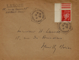 194- Enveloppe Affr. 1 F Pétain Oblit. Cad Hexag. FRANCE-EUROPEENNE / POSTE RURALE - Marcophilie (Lettres)