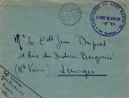 """1942- Enveloppe En F M De Besson ( Allier ) """" Compagnie De GUET RADIO 61 - 1re Section - Marcophilie (Lettres)"""