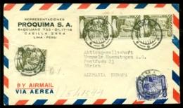Peru 1950 Airmail Cover From Proquima S.A. Lima To Zurich - Peru