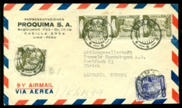 Peru 1950 Airmail Cover From Proquima S.A. Lima To Zurich - Pérou