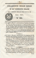 1851 REGNO DELLE DUE SICILIE DECRETO CASSANO + GAETA - Decrees & Laws